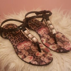 Girls Nine West Size 13 Black Bling Sandal
